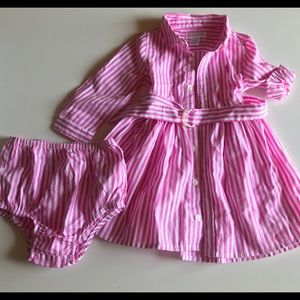 Polo pink with white stripes dress